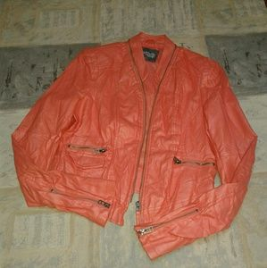 Coral moto jacket